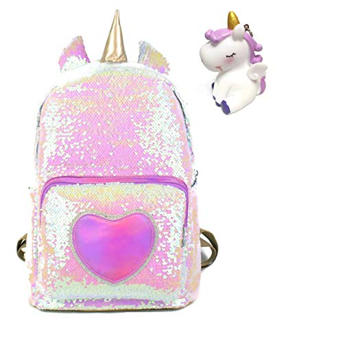 Unicorn Backpack 16' Large Size Sequin School Bag With Durable Straps + Unicorn Keychain Gift