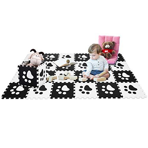 COSTWAY Puzzlematte 24 Stück, Spielmatte für Babys und Kinder, Kinderteppich je 30x30cm, Spielteppich schadstofffrei, Steckmatte aus Eva