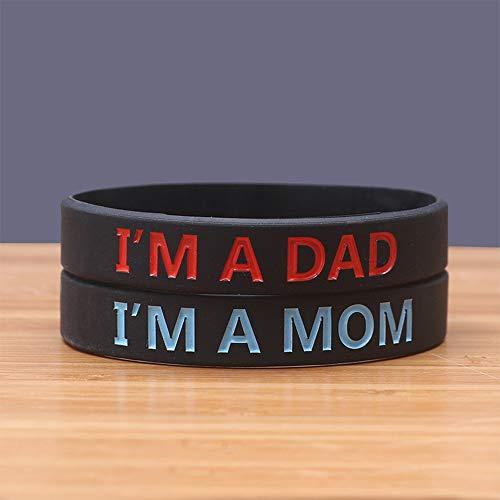 Zdy 5 Stks Siliconen Armband IM Een Papa IM Een Moeder Ik ben Een Moeder Ik ben Een Papa Siliconen Armband Tide Merk Polsband