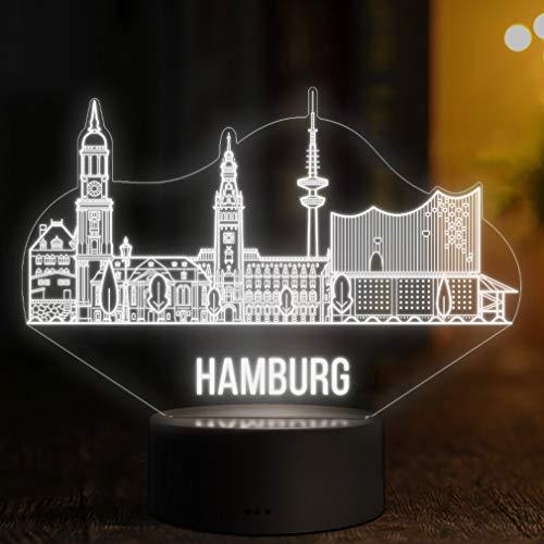 LED Deko Lampe Hamburg Skyline - Elbeffekt - Deutschland Germany Dekoration - Reisen Travel Elbphilharmonie Souvenir Geschenk Andenken