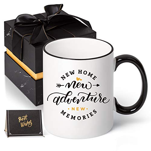 House Warming Presents for New Home- NEW HOME NEW ADVENTURE NEW MEMORIES - Housewarming Gifts New Home for Women, Men, Him, Her, Ceramic Coffee Mug Tea Cup 11 Oz with Gift box (Single)