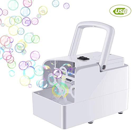 GEEDIAR Seifenblasenmaschine Tragbare, Leichte Automatischer Seifenblasen Maschine Angetrieben von Batterie oder USB für Hochzeit, Geburtstagsfeier, Festival