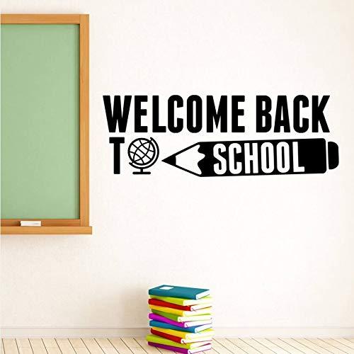 Decalcomania della parete della scuola Bentornati a scuola Quote Wall Sticker Istruzione Citazione ispiratrice Poster da parete Vinyl Lettering Art AY 121x42cm