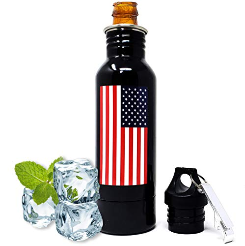 Insulated Beer Bottle Holders to Keep Glass Bottles Cold | Stainless Beer Bottle Insulator - USA American Flag Metal Coozie Keeper, Dad Beer Coozy Cooler Cover, Beer Hider Coozies