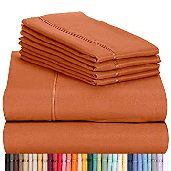 LuxClub 6 PC Sheet Set Bamboo Sheets Deep Pockets 18  Eco Friendly Wrinkle Free Sheets Machine Washable Hotel Bedding Silky Soft - Autumn Orange Queen