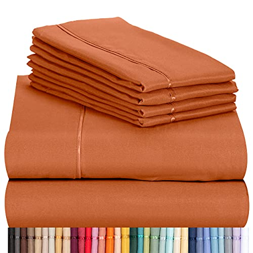 """LuxClub 6 PC Sheet Set Bamboo Sheets Deep Pockets 18"""" Eco Friendly Wrinkle Free Sheets Hypoallergenic Anti-Bacteria Machine Washable Hotel Bedding Silky Soft - Autumn Orange Queen"""