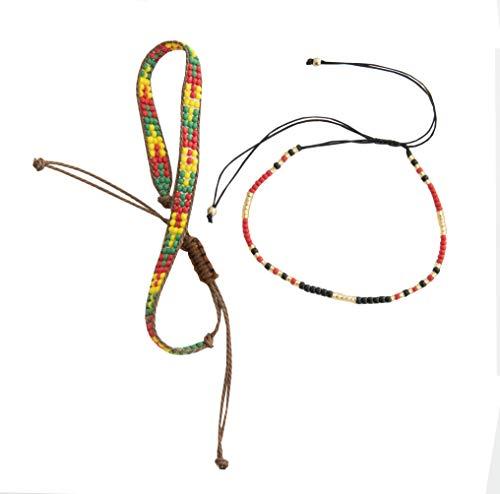 Generisch • Kiss Me! • Dos bonitas pulseras de estilo indio para mujer, perlas de colores, cierre deslizante, juego de joyas.
