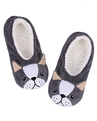 ALLBEST Womens Slipper Socks Low Cut Comfy&Warm Animal Non-skid Bedroom Slippers(Dog, 8-10)