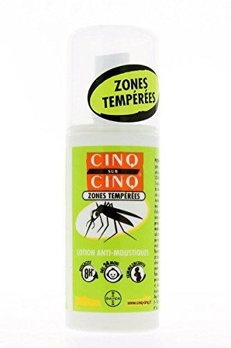 CINQ SUR CINQ LOTION ANTI-MOUSTIQUES ZONES TEMPEREES DES 24 MOIS 75ML