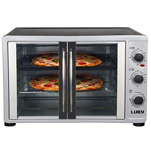 Luby Extra Large Toaster Oven, 18 Slices, 14'' Pizza, 20lb Turkey, Silver, Stainless Steel