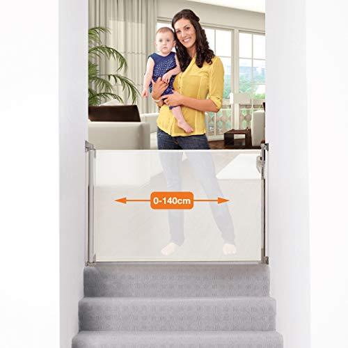 Dreambaby® (0-140cm) - Barrière de Sécurité Extensible/Rétractable pour Portes et Escaliers. Extra-Haut, Relocalisable, pour une Utilisation à l'Intérieure et à l'Extérieure. Version 2019! (Blanc)