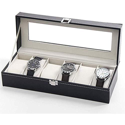 ZXvbyuff 6 Slot Watch Box Organizer mit Schloss |Premium-Schmuck & Uhren Vitrine |Aufbewahrung for Uhren |Groß, Glasdeckel |Carbon-Faser-Design Schwarzer hölzerner Uhr-Halter |Übergroße |Geschenk