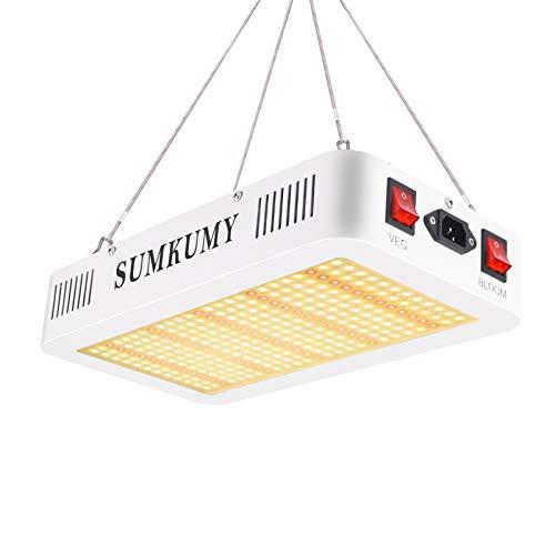 Pflanzenlampe LED,SUMKUMY Grow Light 120W 300LED IP44 LED Grow Lampe Vollspektrum,Rotes Licht IR 750nm Pflanzenlicht Fördert das Wachstum von Blumen, Kräutern, Obst und Gemüse im Innenbereich.