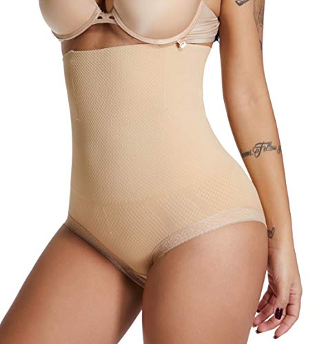 SURE YOU LIKE Damen Hohe Taille Shapewear Bauch Kontrolle Body Shape Figurformende Miederhose Unterwäsche, Beige, M-L