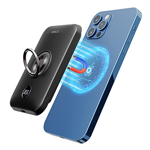 iWALK Magnetic Wireless Power Bank, 6000mAh Portable Charger with Finger Holder, Stronger Magnet...