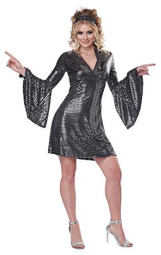 California Costumes Disco Dance Queen Adult Costume, Medium Black/Silver