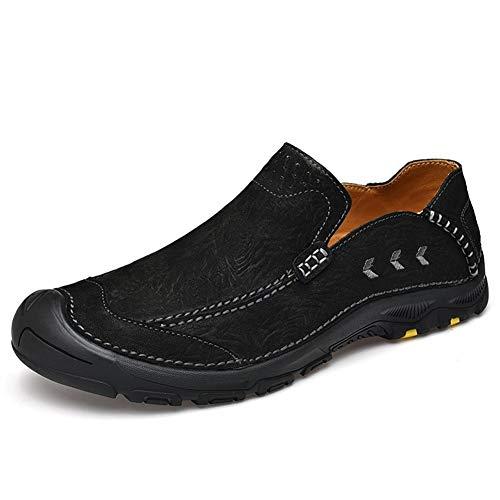 Zapatos de caminata Zapatos de escalada para hombres Mocasines ocasionales Deslice en cuero genuino A prueba de agua Bradyseism Transpirable Ligero antideslizante Caminando con punta redonda al aire l