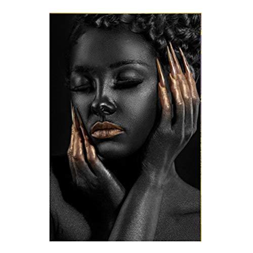 Imagen Obra De Arte - Retrato De Mujer Negra Africana Desnuda Contemporánea Con Labios Sexy Y Uñas De Champán Pintura Del Cartel Del Arte De La Foto Impresa En Lienzo | Sin Marco,Sh,70 * 105cm