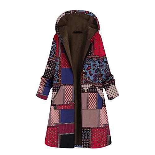 Wtouhe Manteau d'hiver en Laine pour Femmes en Trench-Coat à Manches Longues Pardessus Poncho léger imperméable réutilisable et Respirant avec Capuche idéal pour l'extérieur