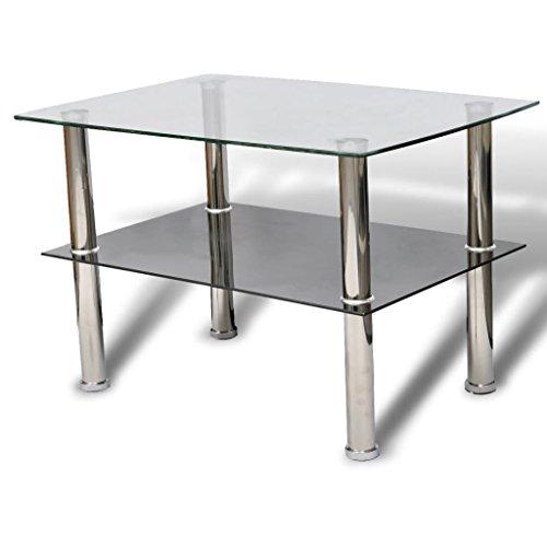 vidaXL Couchtisch Glas 2 Ebenen Tisch Beistelltisch Wohnzimmertisch Glastisch