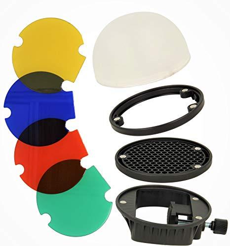 Minadax Universal Diffusor Portrait Lichtformer-Set mit Farbfilter für Austeckblitze | Magnetisch stapelbar + Halterung, Farbfolien, Diffusor | Kompatibel mit Canon Nikon Sony Speedlite Yongnuo Godox