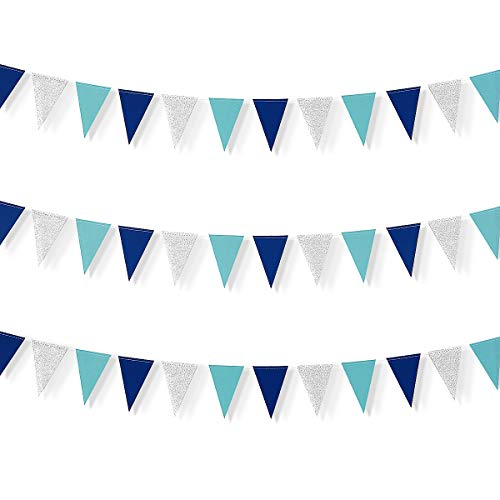 pinkblume 30 Feet Nautical Glitter Paper Triangle Flag,Bunting Pennant Banner for Baby Birthday Shower/Ahoy/Achor/Pirate Theme Party Supplies Decorations(Blue and Silver)