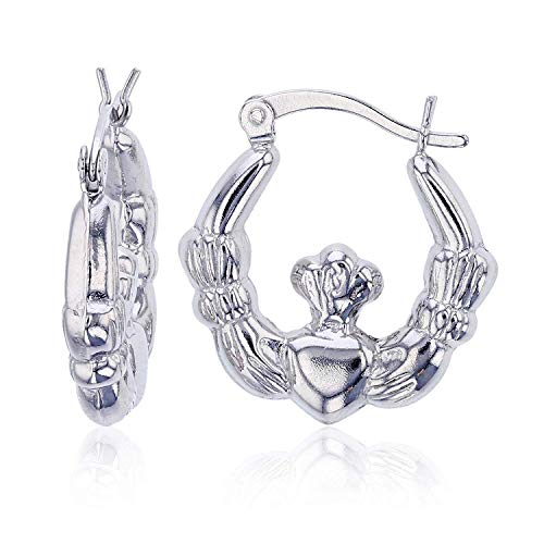 Sterling Silver Polished Graduated Irish Claddagh Celtic Hoop Earrings for Women | 2.85x18mm Round Hoop Earrings | Secure Snap Bar Closure | Shiny Classic Earrings