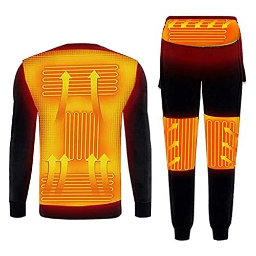 Yokbeer Ropa Interior de calefacción de Invierno, Conjunto de Camisetas y Pantalones térmicos de Manga Larga con calefacción eléctrica USB para Hombres y Mujeres, Deportes al Aire Libre