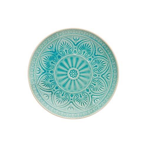 BUTLERS SUMATRA Teller - Schöner Keramik-Teller in Türkis mit Muster Ø 21 cm Speiseteller Sumatra Teller in vier verschiedenen Farben