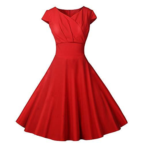 Damen Chiffon Kleider Asymmetrisch Sommerkleid Einfarbig Rundhals Kurzarm Plissee Kleid Casual Lose Kleid Knielang