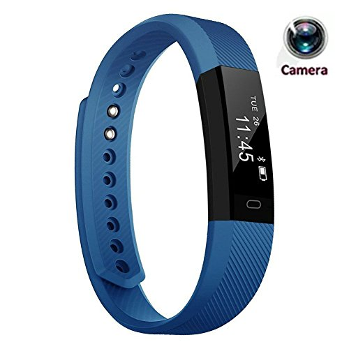 Hangang smartwatch fitnesstracker Smart Bracelet ID115 Bluetooth Call Remind Remote Self-Timer Smart Watch Activity Tracker calorie Counter Wireless Pedometer Sport Band Slaep Monitor voor Android iOS Phone (Blue)