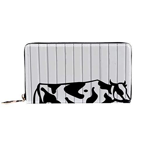 Damen Geldbörse mit Reißverschluss und Handy, Clutch, Reisetasche aus Leder, Kartenhalter, Organizer, Handgelenke, weißes Holz Milch Kuh Hintergrund