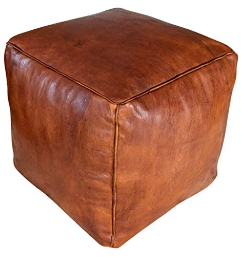 Poufs&Pillows Quadratischer Leder Pouf - Handgefertigt - gefüllt geliefert - Ottoman, Sitzsack, Fußhocker (Honigbraun)