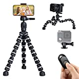 Lusweimi Mini iPhone Tripod for Phone Camera Gopro, Selfie Flexible Tripod with Wireless Remote/Phone Holder/GoPro Mount, Desk Cell Phone Holder for Webcam Smartphone/Android/Action Camera(Gray)