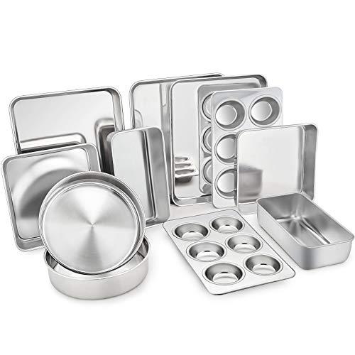 TeamFar Stainless Steel Bakeware Set of 11, Toaster Oven Baking Pan Set, Lasagna Pan, Square & Round Cake Pan, Loaf Pan & Muffin Pan, Healthy & Durable, Dishwasher Safe & Smooth