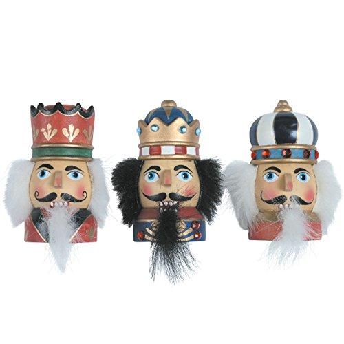 Magnet-Figuren Nussknacker Königsköpfe, 7,5 cm, bunt, handbemalt im Erzgebirgestil, 3 Stück