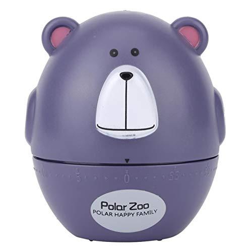 Nobenx Minuteur Little Bear Cuisine mécanique minuterie 60 Minutes Cuisson Cadran minuterie for la Maison Cuisine Gadget Cadeau (Color : Purple)