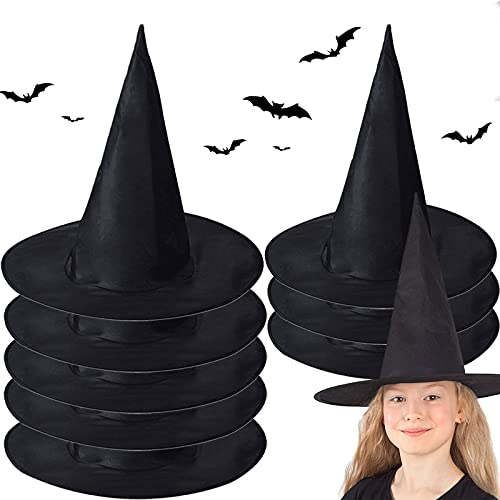 McNory Sombrero de bruja negro de Halloween de 8 piezas, Accesorios de Disfraz de Bruja de Halloween Sombrero de Mago Mágico de Fiesta de Halloween, para fiestas de Halloween y fiestas de carnaval.