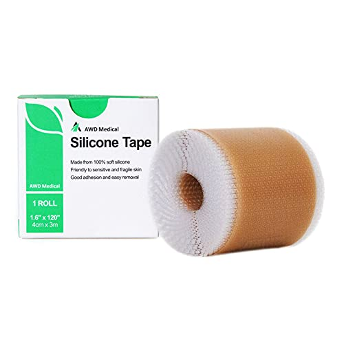 AWD Medical Cinta de silicona suave para eliminación de cicatrices, 1.8 x 12.0in con lámina de gel de silicona, fácil eliminación sin dolor para cirugía, queloides | sección C | quemaduras | levantamiento de senos | ostomía