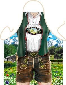 Geile-Fun-T-Shirts Grillschürze Bayern Lederhose Tracht Küchenschürze Herren Koch Schürze Geil Bedruckt Geschenk Set mit Mini Flaschenschürze