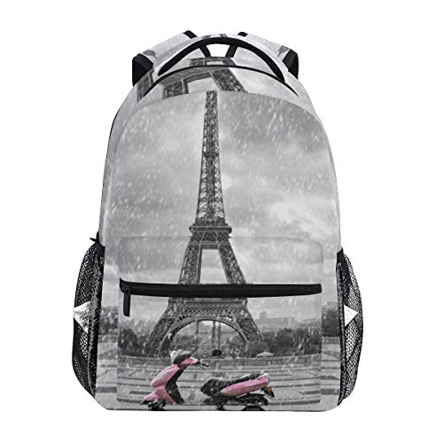 DEZIRO Eiffel Tower In The Rain With Pink Scooter Pattern laptop rugzak School pack