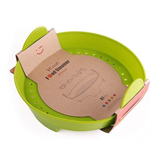 liflicon Dampfgarkorb aus Silikon, Dampfgarer, für die gesunde Küche, leicht (grün)