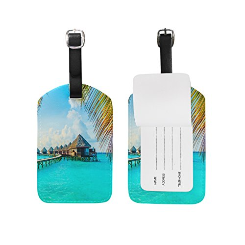 Domoko Palm Tree Beach Luggage Tags Travel ID Bag Tag for Suitcase 1 Piece