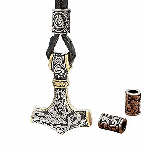 Collar Amuleto Martillo Thor con Cuentas Runa Vikinga para Hombre, Colgante Unisex Acero Inoxidable Nórdico Mjolnir con Dos Cuentas de Barba - Cuerda de Cuero Y Bolsa de Regalo,Mixed Gold,50cm
