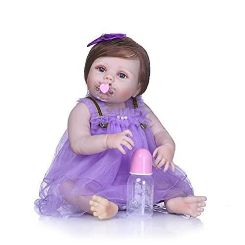 Bebé Reborn Realista De 57 Cm, Falda Morada con Botella De Leche Que Se Puede Bañar En Juguetes De Agua Regalos Creativos para Las Vacaciones