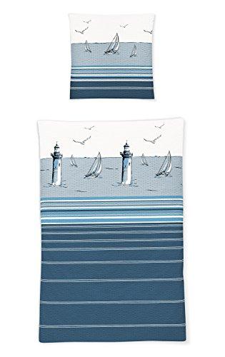 Irisette Seersucker Bettwäsche Calypso Leuchtturm 1 Bettbezug 135x200 cm + 1 Kissenbezug 80x80 cm
