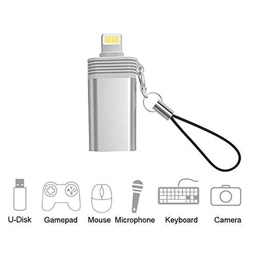 Adaptador de cámara USB, Adaptador OTG Hembra USB Compatible con iPhone 11 XS X 8 7, Lector de Tarjetas de Apoyo, Teclado, micrófono, Adaptador USB Ethernet, ratón