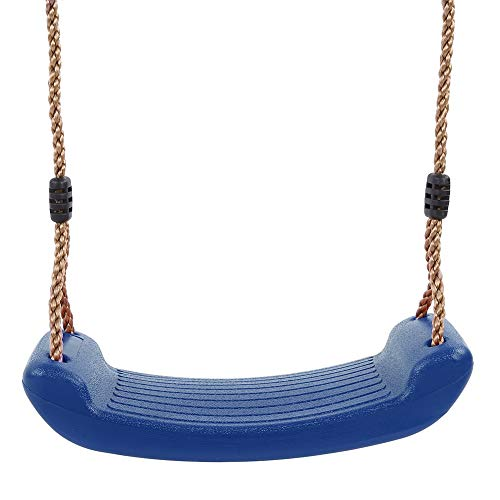 Wakects Plastic Swing Toddler Swing Blue Rocking Board Garden Outdoor Children's Swing with Height Adjustable Rope (Blue)