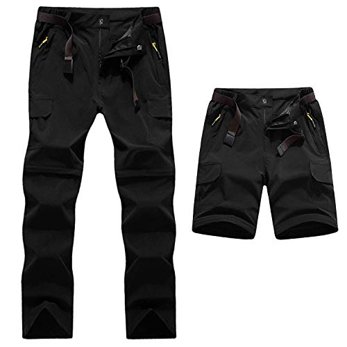 BIAOZH - Pantalones de Senderismo para Hombre, Secado rápido, Convertibles, con Cremallera, Resistentes al Agua, Hombre, Color Delgado Negro, tamaño 2XL
