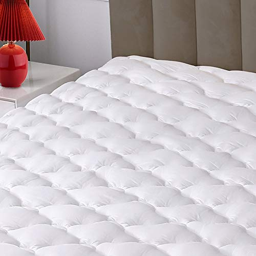 Mattress Pad Cover, 100% Cotton Top with 8-21' Deep Pocket,...